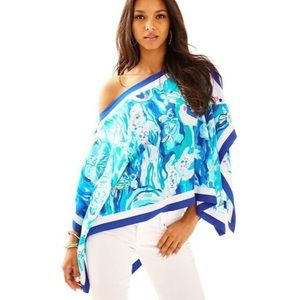 Lilly Pulitzer NWOT Dixie Silk Top Blue Blouse